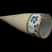 """Porcelain Arts & Crafts Blue Floral Motif Wall Pocket/Vase (Signed """"Rosalie Cook""""/Dated 1910)"""