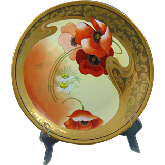 """Delinieres & Co. (D&Co.) Limoges Pickard Studio """"Poppy & Daisy"""" Design Charger/Plate (Signed """"Schoner"""" for Otto Schoner/c.1905-1910)"""