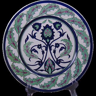 "C. Ahrenfeldt (CA) Limoges Arts & Crafts Islamic/Iznik Floral Motif Plate (Signed ""L.J. Ivory N.Y.""/Dated 1913)"
