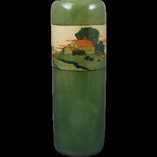 "PH Leonard Austria Arts & Crafts Landscape Motif Vase (Signed ""M. McGovern""/c.1900-1930)"