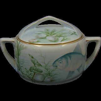 Rosenthal Donatello Bavaria Arts & Crafts Marine/Fish Motif Biscuit Jar (c.1907-1956)