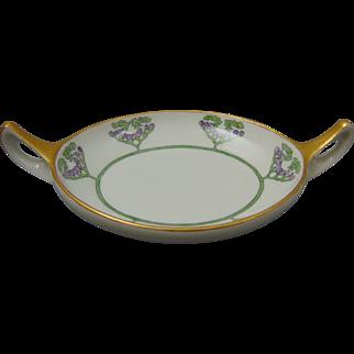 "Epiag Czechoslovakia Arts & Crafts Berry Design Handled Trinket Dish (Signed ""Ruth Lundgren Bard""/Dated 1923)"