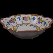 """Porcelain Blank Arts & Crafts Floral Motif Bowl (Signed """"F.L. Wynne""""/c.1910-1930)"""