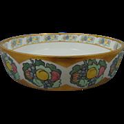 """Porcelain Blank Arts & Crafts Fruit Motif Centerpiece Bowl (Signed """"M.C. Lewis""""/c.1910-1930)"""