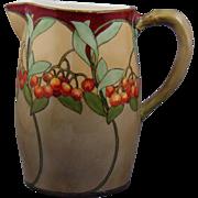 "Gerard, Duffraisseix & Abbott (GDA) Limoges Arts & Crafts ""Mountain Ash"" Design Pitcher (Signed ""Cynth Xmas 1907 Bea"") - Keramic Studio Design"