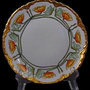 "Oscar & Edgar Gutherz (O&EG) Austria Arts & Crafts California Poppy/ Floral Design Plate (Signed ""J. Burg""/c.1910-1930)"