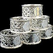 Set of 6 Silver Napkin Rings in case, Sheffield 1910, C W Fletcher & Son Ltd