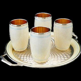 Silver & Enamel Tray & 4 Shot Glasses, c.1930's Possibly Austrian