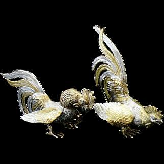 Pair Silver Gilt Table Fighting Cockerels, London 1967, Israel Freeman & Son Ltd