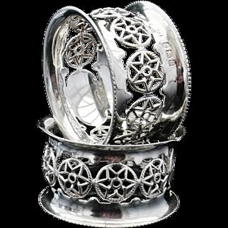 Pair of Decorative Silver Napkin Rings, Birmingham 1906, James Swann