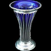 Large Silver Vase & Blue Glass Liner, Sheffield 1903, George Howson