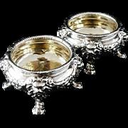 Silver Master Salts, R & S Garrard & Co, c.1840, Heavy 676g the pair