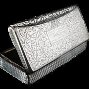 Antique Silver Snuff Box, Birmingham 1829, William Simpson