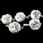 5 Silver Buttons, Art Nouveau c.1910