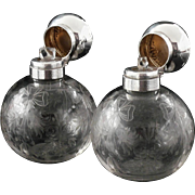 Pair Large Silver Scent Perfume Bottles, London 1912, Goldsmiths & Silversmiths