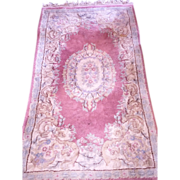 Vintage Persian Wool Rug 4'x3' Soft Muted Mauve &  Blue