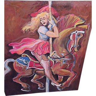"SALE Trevor Hawkins Listed Artist oil painting Circa 1998 Show Girl on Carousel Fabulous 36"" x 30"" EC!"