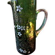 "Gorgeous Antique Victorian 10"" Emerald Glass Pitcher with Enameld Flowers--Circa 1880"