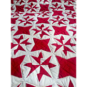 "Beautiful Southern Antique Quilt circa 1890 GC Turkey Red and Cream Star 82"" by 78"""