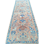 Magnificent Antique Persian Serapi Runner Beautiful Shades of Salmons & Blues GC! 9' x 3'4""