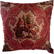 Beautiful Vintage Velvet & Cotton w/Tassels Equestrian Scene Paisley Pillow