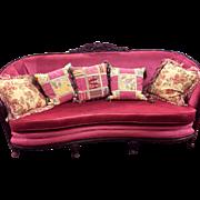 SALE! Exquisite Circa 1920 Original French/Italian Mahogany Sofa Great Raspberry Rose Velvet Upholstery