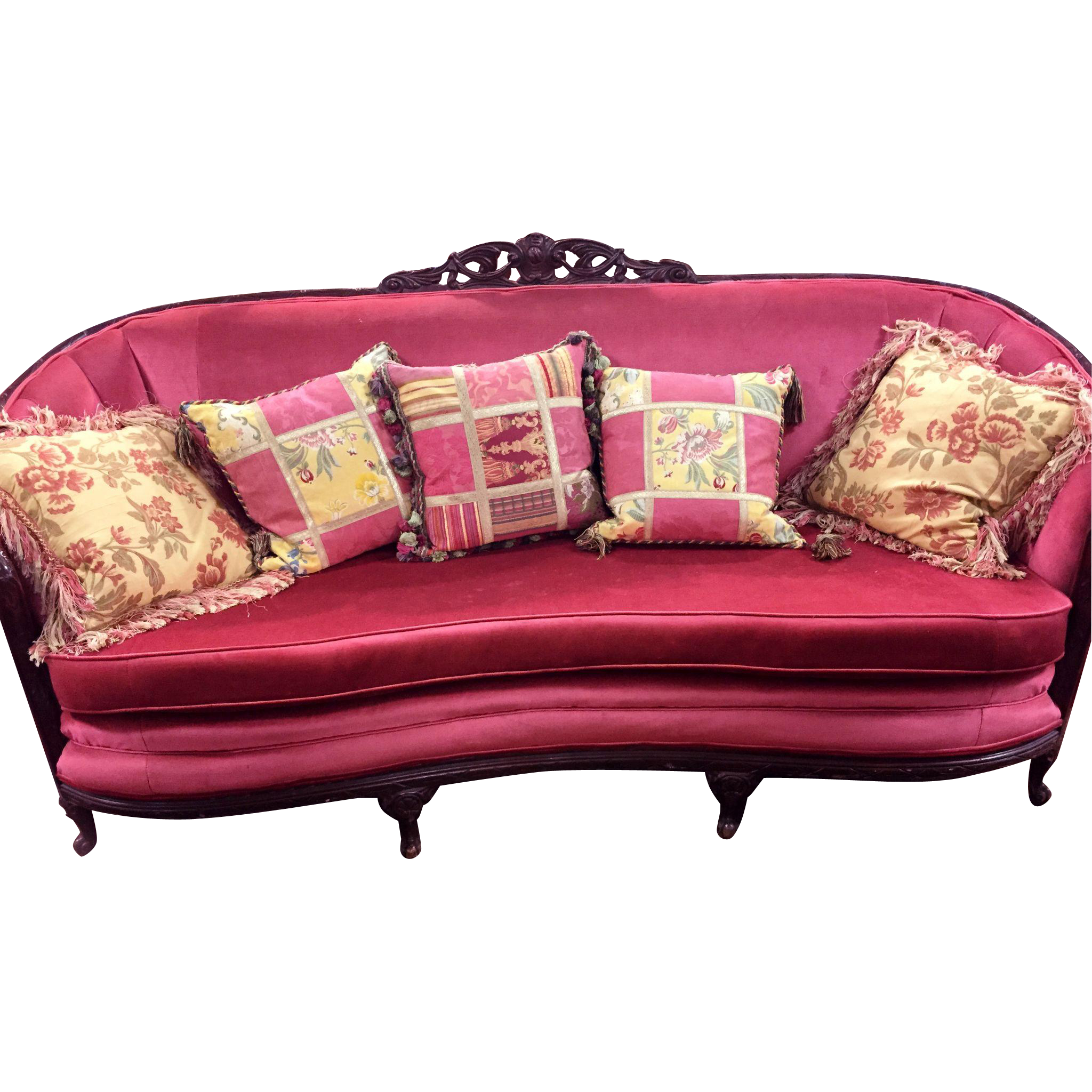 Exquisite Circa 1920 Original French/Italian Mahogany Sofa Great Raspberry  Rose Velvet Upholstery