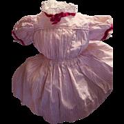 """Adorable Vintage Doll Dress Pink & White Cotton Stripe 12"""" long!"""