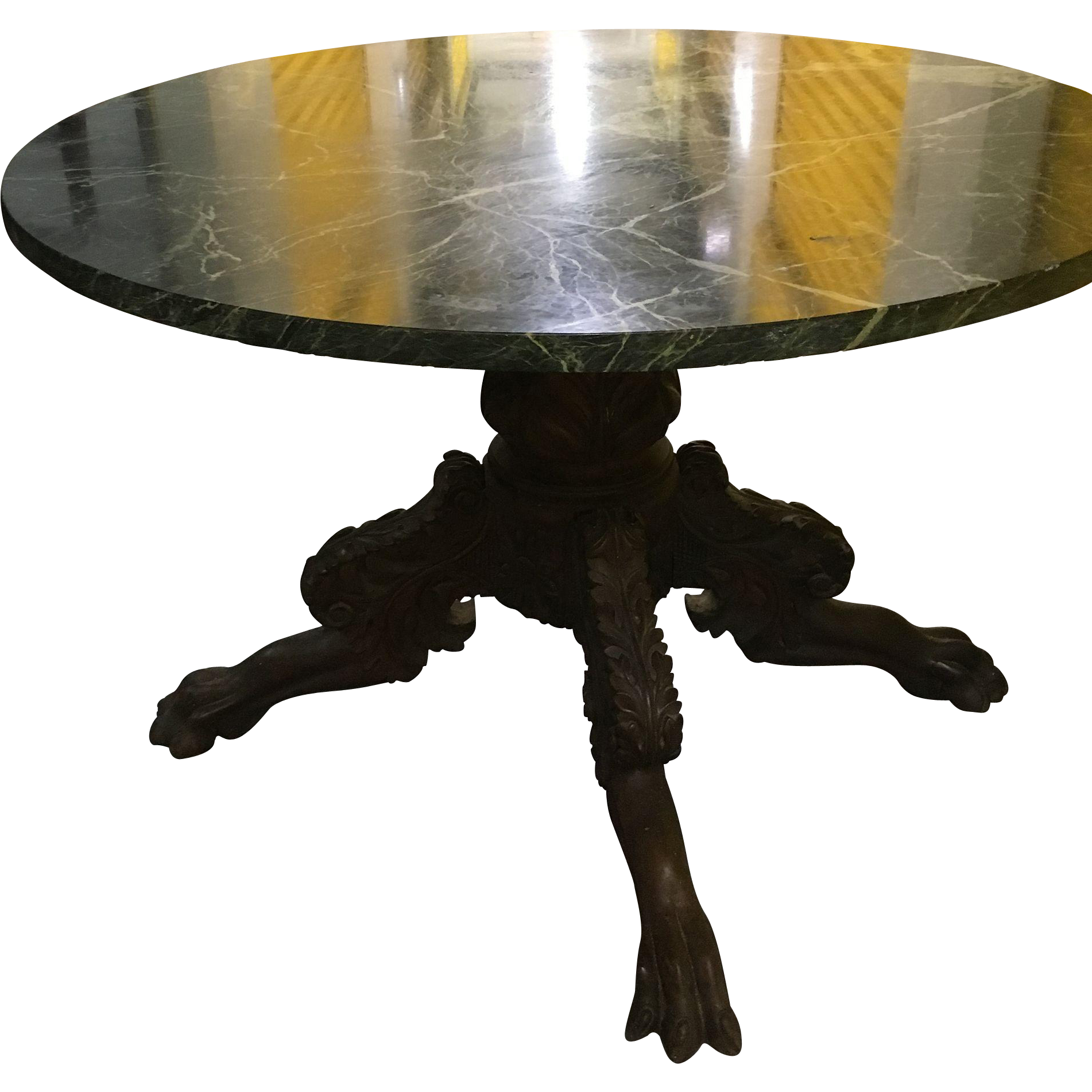 Magnificent Antique Round Table American Circa 1830 Green Marble