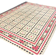 Vintage Indian Cotton Dhurrie Rug--Absolutely Gorgeous! 8'x10'