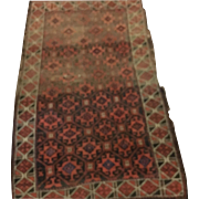 "Antique Persian Rug 33"" by 60"" Worn, Circa 1880 Rust & Navys"