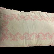 "Antique Pink & White  Pillow from Sullivan Island Estate Absolutely Gorgeous, circa 1915 30"" x 20"""