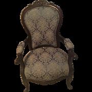 Ladies Rosewood Renaissance Revival Victorian Arm Chair Blue Damask Beautiful