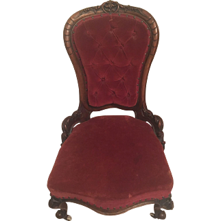 Victorian American Ladies Slipper Chair mahogany Red Velvet GC Circa 1860