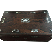 Wonderful Antique English Rosewood Writing Box w/Gorgeous Mother of Pearl Inlay!
