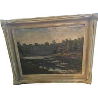 "Antique Oil on Canvas Painting American Landscape Orig Frame Framed--17.5""x14"""