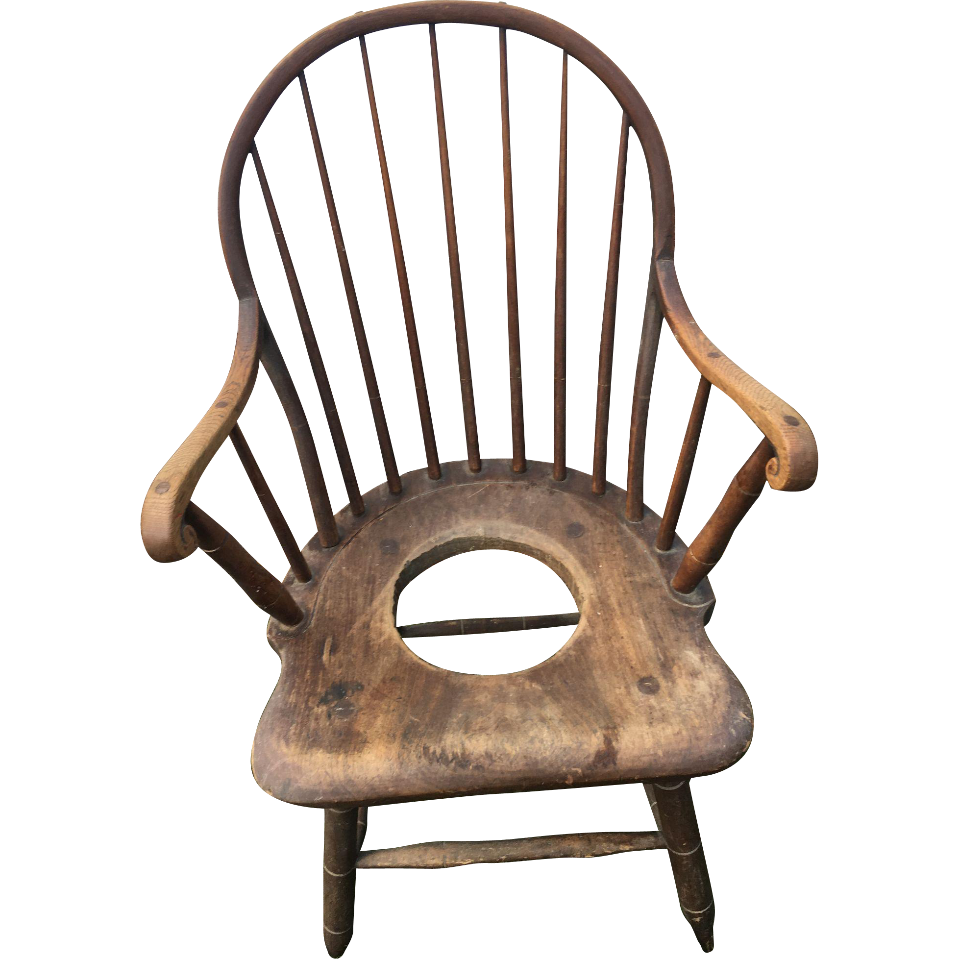 American windsor chair - Original Early American Windsor Antique Potty Chair