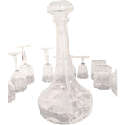 """Crystal FRENCH Wine Decanter excel Cond. 13.5"""" Tall Circa 1915"""