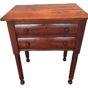 American Antique Sheraton Period Cherry Work Table orig Wooden Knobs circa 1825