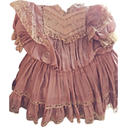 """Antique French Doll Dress French Mauve/Pink Silk and Laces 20"""" Long"""