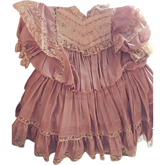 "Antique French Doll Dress French Mauve/Pink Silk and Laces 20"" Long"