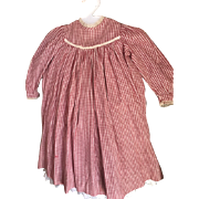 Wonderful Antique  Red & Cream Child's Dress in EC Great for Antique Doll Circa 1880!