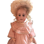 """Antique Kuhnlenz Mold #4627 Made for French MArket 16.5"""" Gorgeous Early Square Teeth-- Fablous Cothes Orig Pale Blond Wig!"""