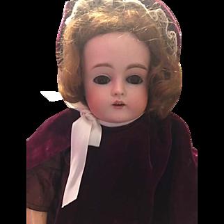 """Kestner #167 17"""" Beautiiful Bisque Brown sleep eyes Great Clothes!"""