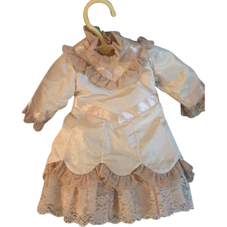 "Magnificent Antique Doll Dress Cream Silk/Satin w/Antique French Lace 15"" Long"