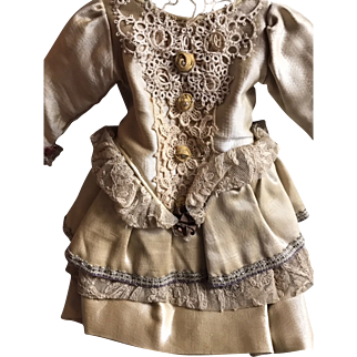 "Fabulous Antique French Doll Dress Gold Satin and French Laces 11"" Long"