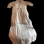 "Magnificent 40"" Long Antique Christening Dress w/slip Circa 1890"