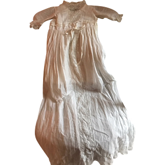 "Magnificent 40"" Long Antique Christening Dress w/slip Circa 1890"
