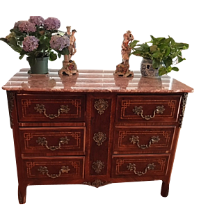 Louis XVI Chest of Drawers Magnificent Ormolu Blood Red orig. Marble!