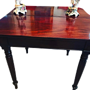 George III Antique Period Tea or Game Table w/Concertina Motion Cuban Mahogany Circa 1780!